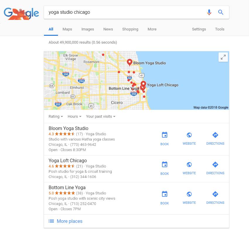 chicago yoga local search google