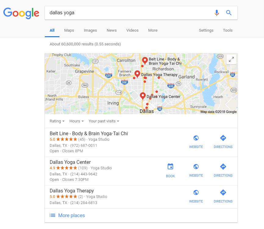 google search dallas yoga with booking icon