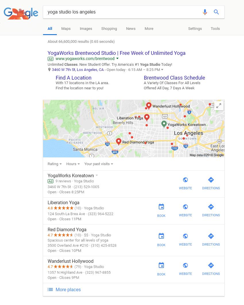 los angeles yoga studio local search on google